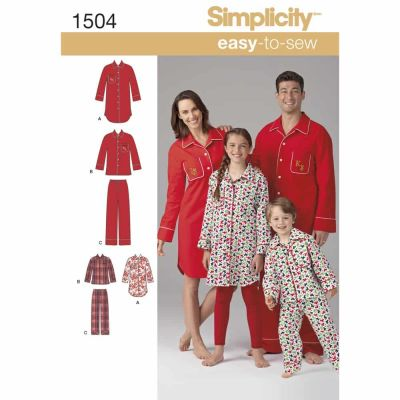 Simplicity Sewing Pattern 1504 Child's, Teens' and Adults' Loungewear