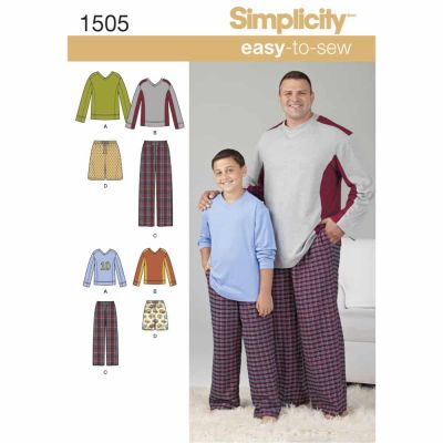 Simplicity Sewing Pattern 1505 Husky Boys' & Big & Tall Men's Tops and Trousers