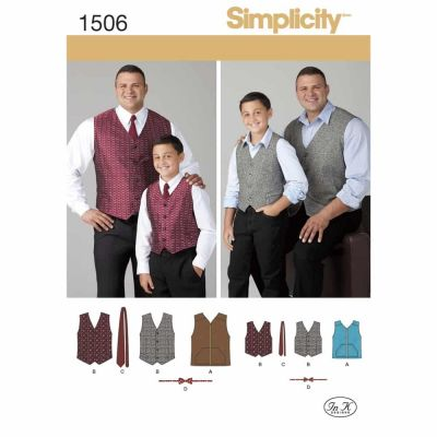Simplicity Sewing Pattern 1506 Husky Boys' and Big and Tall Men's Vests