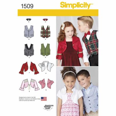 Simplicity Sewing Pattern 1509 Child's Vest, Bolero and Bow Tie
