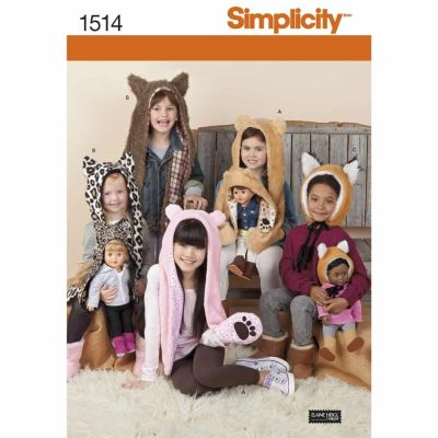"Simplicity Sewing Pattern 1514 Child's and 18"" Doll Animal Hats"