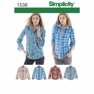 Simplicity Sewing Pattern 1538 Misses'  Button Front Shirt sizes 6 - 22