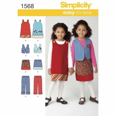 Simplicity Sewing Pattern 1568 Child's Jumper, Vest, Trousers and Skirt
