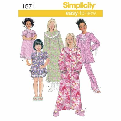 Simplicity Sewing Pattern 1571 Child's and Girl's Loungewear Separates