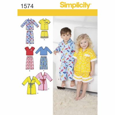 Simplicity Sewing Pattern 1574 Toddlers' Loungewear