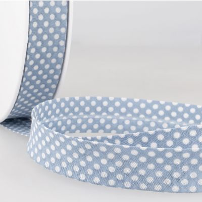 La Stephanoise 20mm Cotton Bias Binding - White Dots On Sky Blue