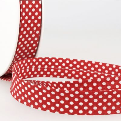 La Stephanoise 20mm Cotton Bias Binding - White Dots On Red