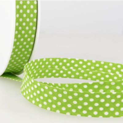 La Stephanoise 20mm Cotton Bias Binding - White Dots On Anise Green