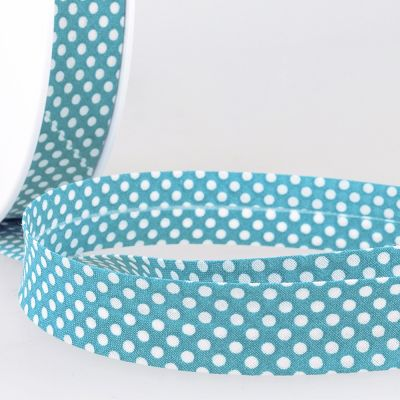 La Stephanoise 20mm Cotton Bias Binding - White Dots On Steel Blue