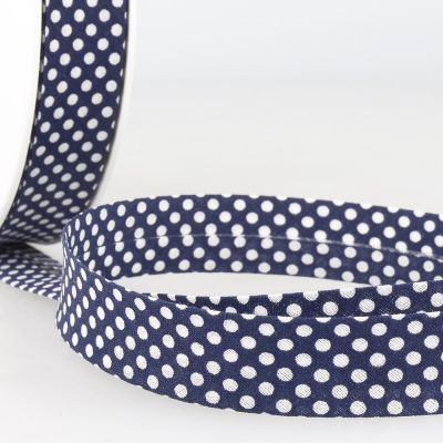 La Stephanoise 20mm Cotton Bias Binding - White Dots On Navy Blue