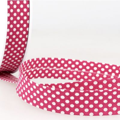 La Stephanoise 20mm Cotton Bias Binding - White Dots On Fuchsia