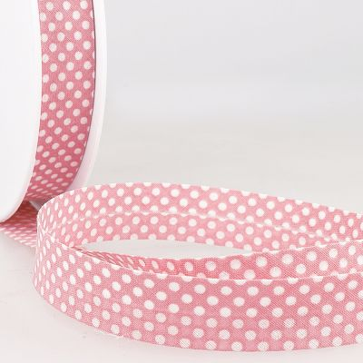 La Stephanoise 20mm Cotton Bias Binding - White Dots On Light Pink