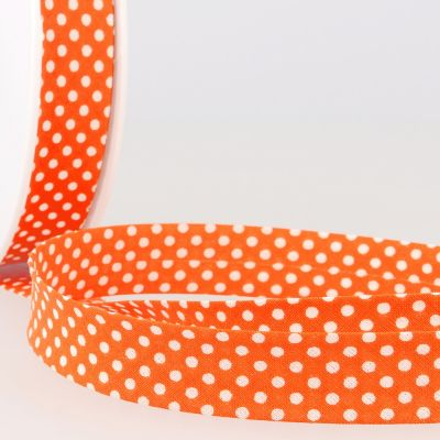 La Stephanoise 20mm Cotton Bias Binding - White Dots On Orange