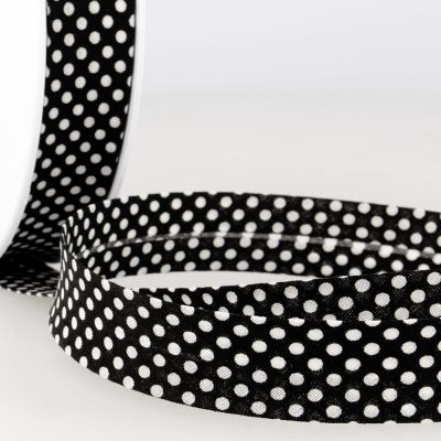 La Stephanoise 20mm Cotton Bias Binding - White Dots On Black