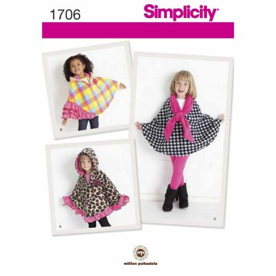 Simplicity Sewing Pattern 1706 Child's Fleece Capes