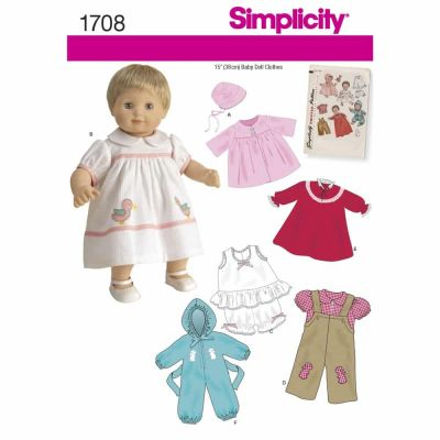 "Simplicity Sewing Pattern 1708 15"" Baby Doll Clothes"