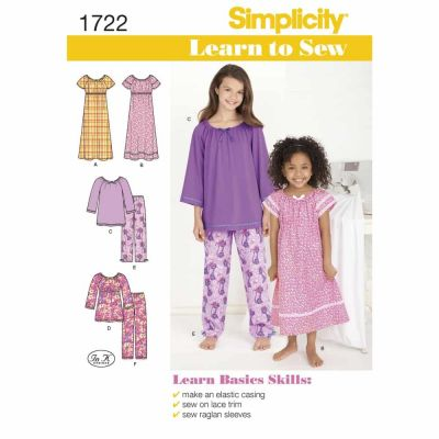 Simplicity Sewing Pattern 1722 Learn to Sew Child's and Girl's Loungewear