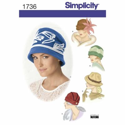 Simplicity Sewing Pattern 1736 Misses' hats in three sizes