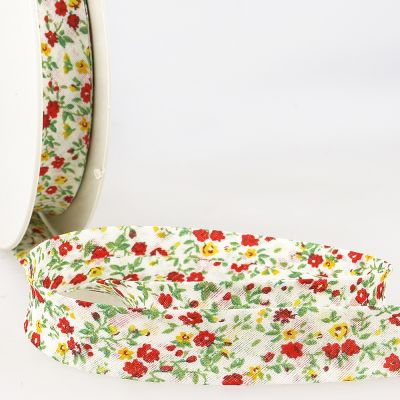 La Stephanoise 20mm Cotton Bias Binding - Red & Yellow Flowers On White