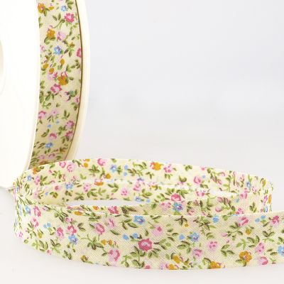 La Stephanoise 20mm Cotton Bias Binding - Mixed Floral On Cream