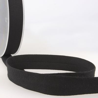 Stephanoise Plain Cotton Jersey Bias Binding - 20mm Wide - Black