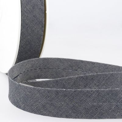 Stephanoise Cotton Denim Bias Binding - 20mm Wide On Mid Grey
