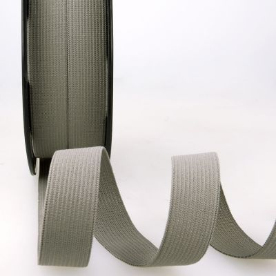 Woven Ribbon Elastic - 15mm Wide - Dark Grey