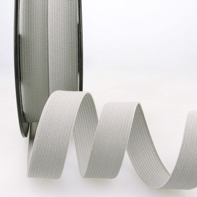 Woven Ribbon Elastic - 20mm Wide - Light Grey