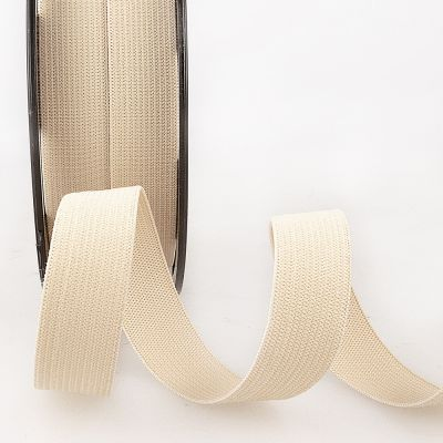 Woven Ribbon Elastic - 25mm Wide - Beige