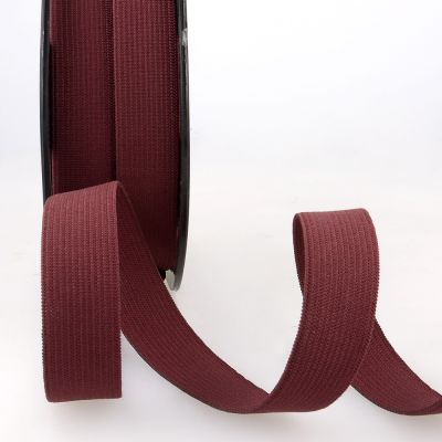 Woven Ribbon Elastic - 25mm Wide - Burgundy