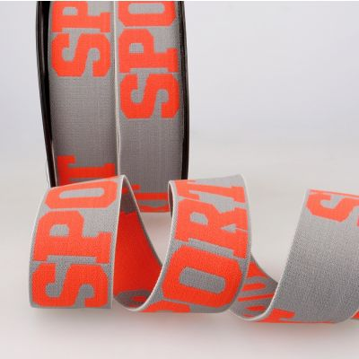 Woven Ribbon Elastic With SPORT Text - 32mm Wide - Light Grey/Flo Red