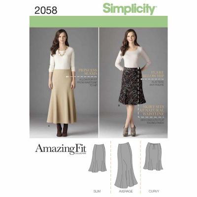 Simplicity Sewing Pattern 2058 Misses' & Plus Size Amazing Fit Skirt