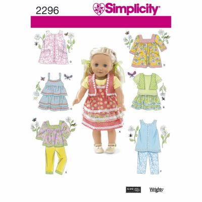 Simplicity Sewing Pattern 2296 Doll Clothes