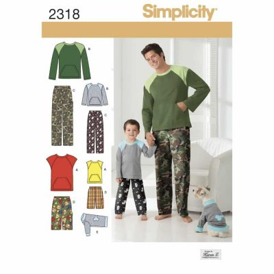 Simplicity Sewing Pattern 2318 Boys' & Men's Loungewear & Dog Top