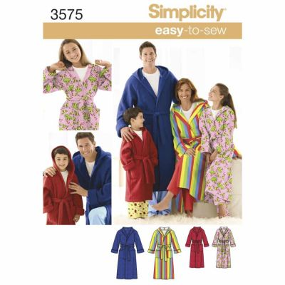 Simplicity Sewing Pattern 3575 Miss/Men/Child Sleepwear