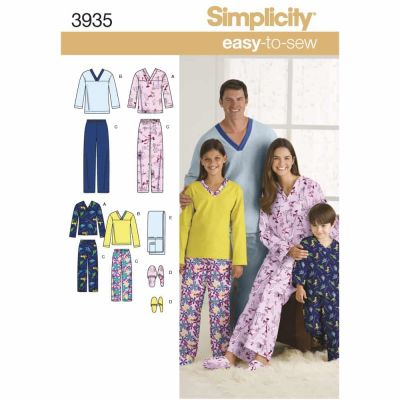 Simplicity Sewing Pattern 3935 Miss/Men/Child Sleepwear