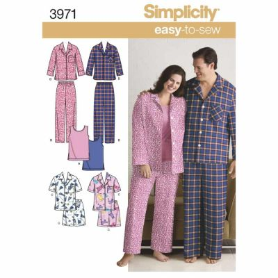 Simplicity Sewing Pattern 3971 Misses' & Men's Plus Size Sleepwear