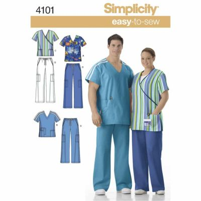 Simplicity Sewing Pattern 4101 Misses' & Men's Plus Size Scrubs