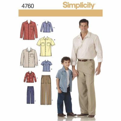 Simplicity Sewing Pattern 4760 Boys and Men Shirts and Trousers