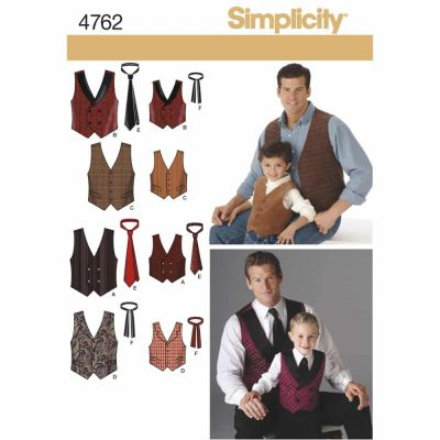 Simplicity Sewing Pattern 4762 Boys and Men Vests and Ties