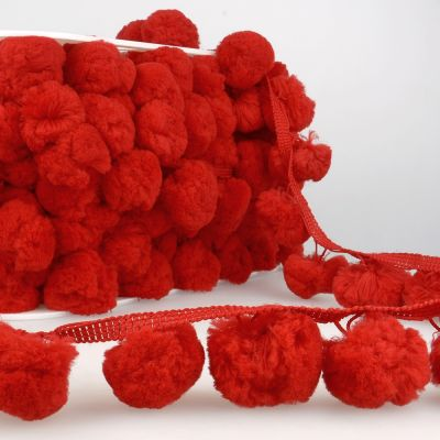 La Stephanoise 50mm Giant Pom Pom Trim Red