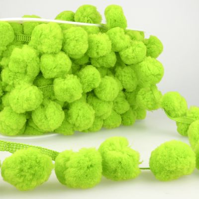 La Stephanoise 50mm Giant Pom Pom Trim Yellow Green