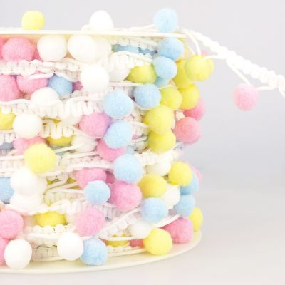 La Stephanoise 25mm Pom Pom Trim Multi Pastel