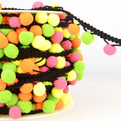 La Stephanoise 25mm Pom Pom Trim Multi Green / Orange / Pink / Yellow