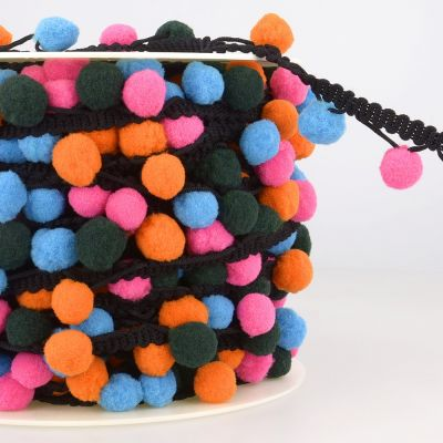 La Stephanoise 25mm Pom Pom Trim Multi Pink / Orange / Black / Blue