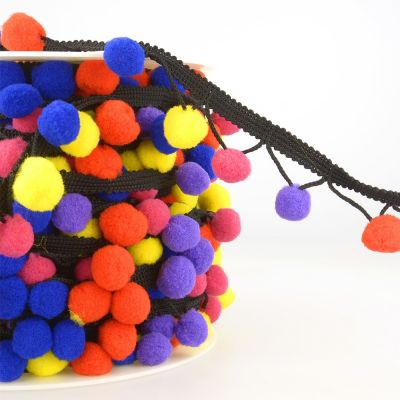 La Stephanoise 25mm Pom Pom Trim Multi Blue / Red / Yellow / Pink