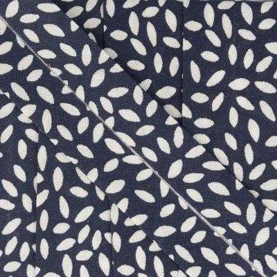 La Stephanoise 27mm Cotton Bias Binding - Leaves On Navy Blue
