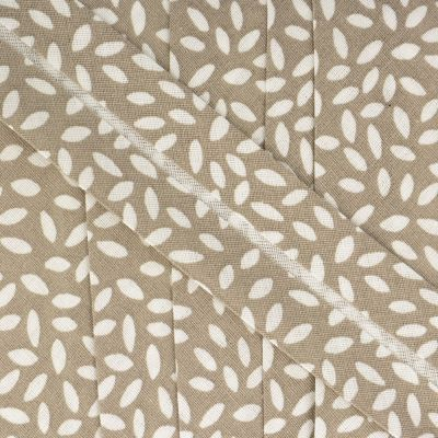 La Stephanoise 27mm Cotton Bias Binding - Leaves On Taupe