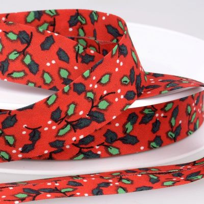 La Stephanoise 20mm Cotton Bias Binding - Holly On Red