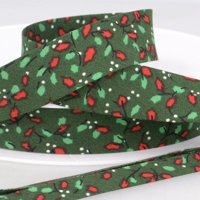 La Stephanoise 20mm Cotton Bias Binding - Holly On Green